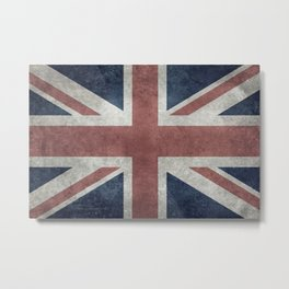 UK Flag, Grungy Desaturated 3:5 scale Metal Print