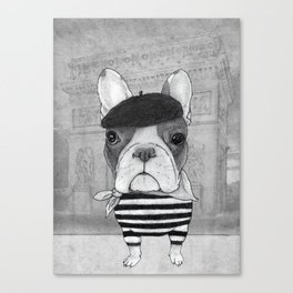 French Bulldog. (black and white version) Canvas Print