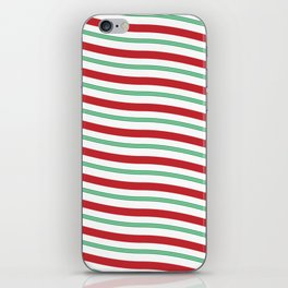 Red White and Green Christmas Candy Cane Pattern iPhone Skin
