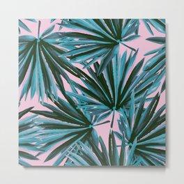 Tropical Palm Leaves in Botanical Green + Pink Metal Print