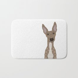 Cute Fawn Greyhound with white belly Bath Mat