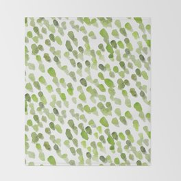 Imperfect brush strokes - olive green Throw Blanket