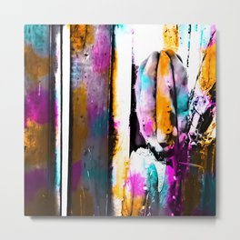 cactus with wooden background and colorful painting abstract in orange blue pink Metal Print