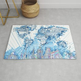 world map city skyline 5 Rug