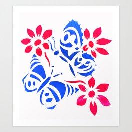 Butterfly and flower screenprint Art Print