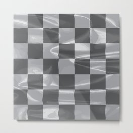 Chequered Silk Flag Metal Print