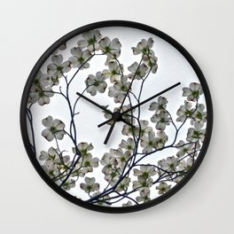 White Dogwood against a Gray Sky Wall Clock
