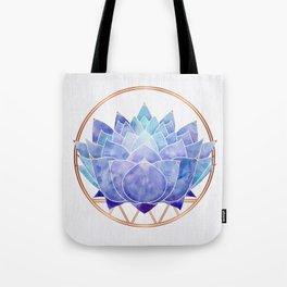 Violet Zen Lotus Tote Bag