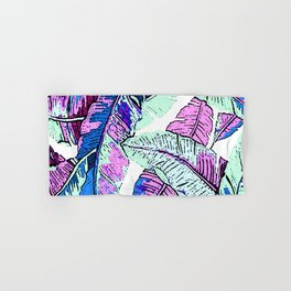 BANANA LEAF PALM PASTEL PINK AND BLUE Hand & Bath Towel