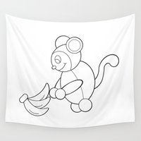 monkey Wall Tapestries featuring Monkey by Kakida Lily