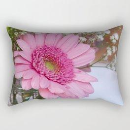 Pink flower in shabby chic vase Rectangular Pillow