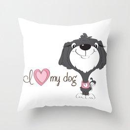 BellaRina - I Love My Dog Throw Pillow