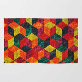 Colorful Isometric Cubes IV Rug