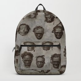 Macabre Collection of Shrunken Heads of Horatio Gordon Robley black and white photograph Backpack