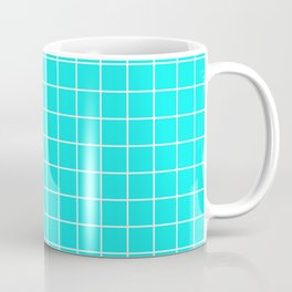 Fluorescent blue - blue color - White Lines Grid Pattern Coffee Mug