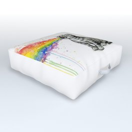 Kitten Puking Rainbow Outdoor Floor Cushion
