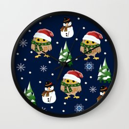 Cute Xmas pattern design with owls and snowmen Wall Clock