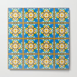 Vintage Majolica Tiles Metal Print