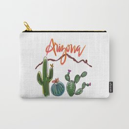 Arizona Line Drawing, Cacti and Camelback Mountain Carry-All Pouch