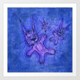 Record Cover for some Jazzed Rabbits, Blueish. Art Print