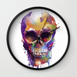 colorful skull Wall Clock