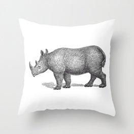 Vintage Rhinoceros Throw Pillow