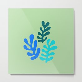 Matisse French style art. Fluid Colored leaves. Metal Print