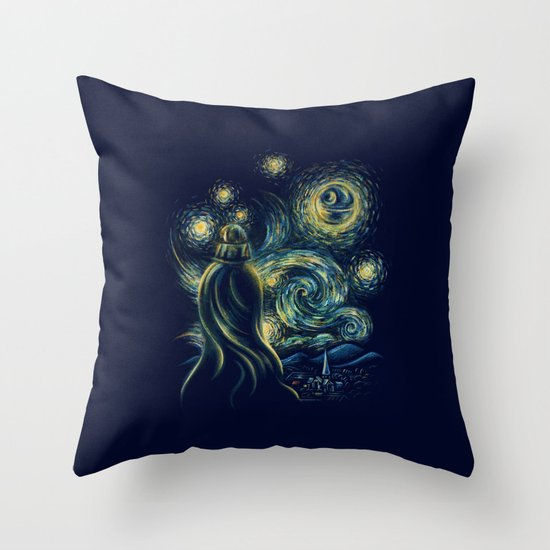 Death Starry Night Throw Pillow