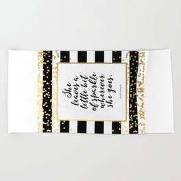 Inspirational Quote She Leaves A Little Sparkle Wherever She Goes Hustle Quote Print Kate Spade  Beach Towel