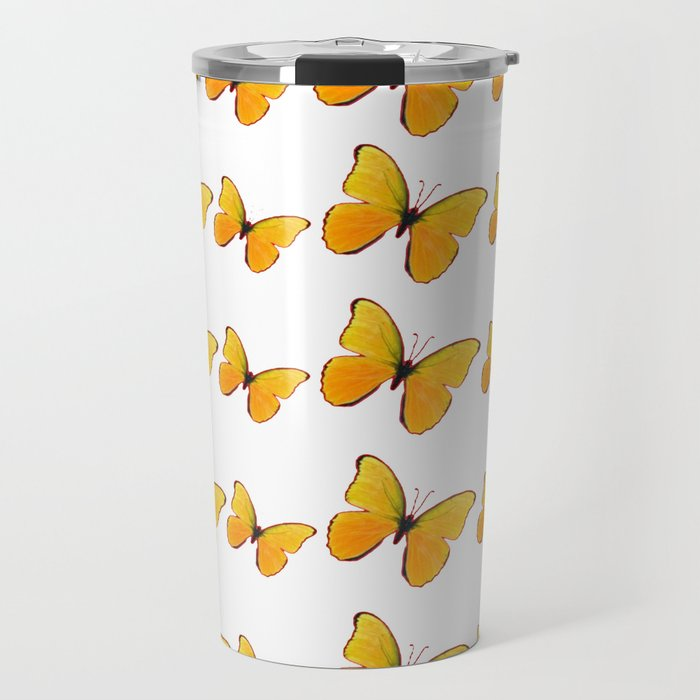 DECORATIVE WHITE  ART OF YELLOW BUTTERFLIES Travel Mug