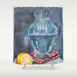 Lemon and a water jug Shower Curtain