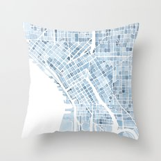 Map Seattle Washington Blueprint watercolor map Throw Pillow