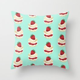 Fruit Shortcake dessert food apparel and gifts food fight mint Throw Pillow