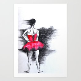 Girl In The Red Dress Art Print