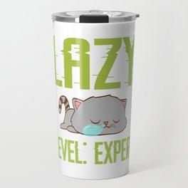 "Cute Cat Shirt For Animal Lovers Saying ""Lazy Level: Expert"" T-shirt Design Animals Pet Petting Claw Travel Mug"