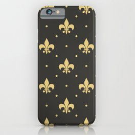 Fleur De Lis design - black iPhone Case