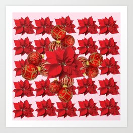 RED POINSETTIA FLOWERS  ORNAMENTS CHRISTMAS ART Art Print