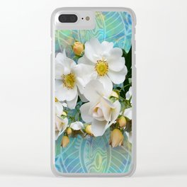 White Blooms and Yellow Roses Clear iPhone Case