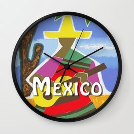 Vintage Mexico Vihuela Travel Wall Clock