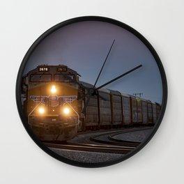 Twilight Freight Train Wall Clock