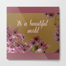 beautiful world with pink flowers into vintage frame Metal Print