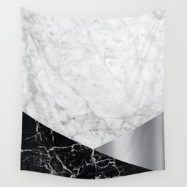 White Marble - Black Granite & Silver #230 Wall Tapestry
