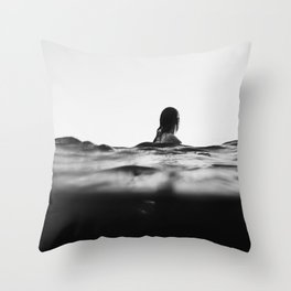 BLACK AND WHITE - OCEAN - WAVES - SEA - WATER - WOMAN Throw Pillow