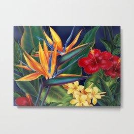 Tropical Paradise Hawaiian Floral Illustration Metal Print