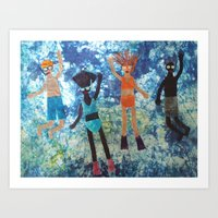 swimming Art Prints featuring Swimming by BatikbyDesign