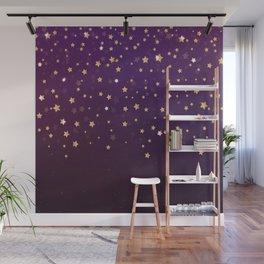 Violet Night Gold Stars Wall Mural
