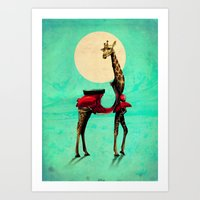 giraffe Art Prints featuring Giraffe by Ali GULEC