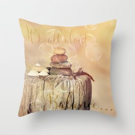 Balance Stone Cairn Sunset  Bubbles Light Throw Pillow