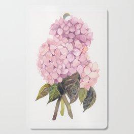 watercolor pink hydrangea Cutting Board