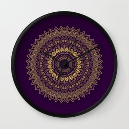 Harmony Circle of Gold on Purple Wall Clock